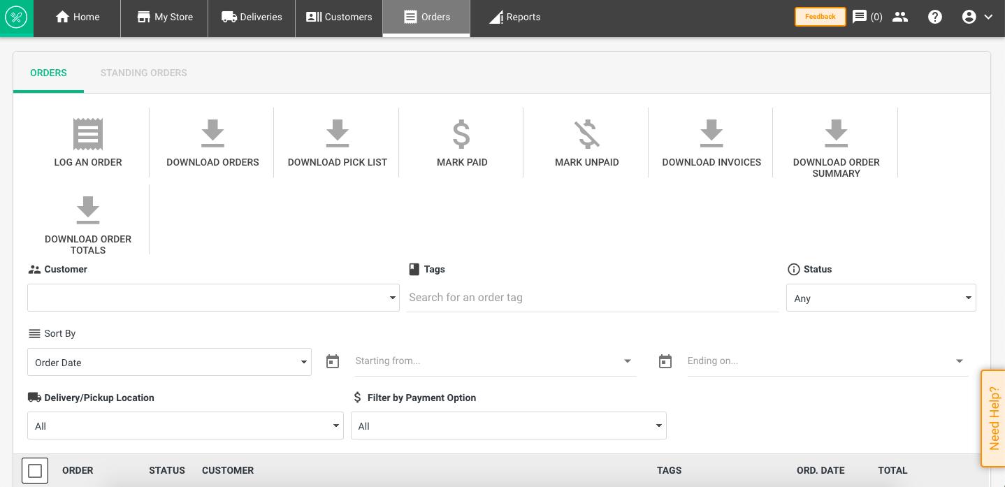 Local Line orders tab online store