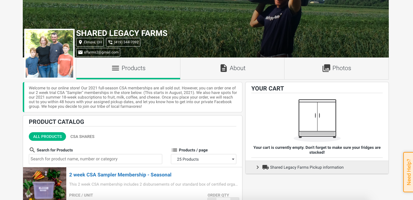 Shared Legacy Farms online store Local Line