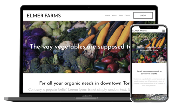 Local Line Free Website Builder, a farm website on a laptop screen and smartphone